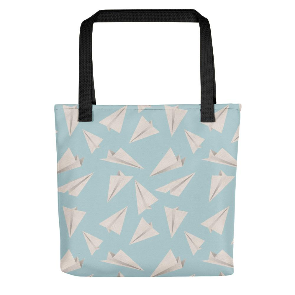 Paper Planes Pattern | Blue | Tote Bag-tote bags-Black-Eggenland