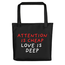 Load image into Gallery viewer, Attention Is Cheap | Black | Tote Bag-tote bags-Black-Eggenland