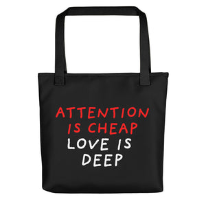 Attention Is Cheap | Black | Tote Bag-tote bags-Black-Eggenland