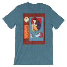 Load image into Gallery viewer, Good Night Sleep Tight | Dog, Cat and Mouse | Short-Sleeve Unisex T-Shirt-t-shirts-Heather Deep Teal-S-Eggenland