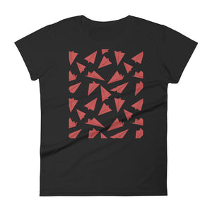 Paper Planes Pattern | Red | Women's Short-Sleeve T-Shirt-t-shirts-Black-S-Eggenland