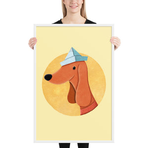 Dog With Newspaper Hat | Yellow | Illustration | Framed Poster-framed posters-White-24×36-Eggenland