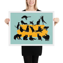 Load image into Gallery viewer, Black Cats Party | Blue | Illustration | Framed Poster-framed posters-White-18×24-Eggenland