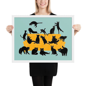 Black Cats Party | Blue | Illustration | Framed Poster-framed posters-White-18×24-Eggenland