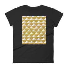 Load image into Gallery viewer, Paper Hats Pattern | Golden | Women's Short-Sleeve T-Shirt-t-shirts-Black-S-Eggenland