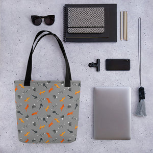 Funky Cats Pattern | Dark Grey | Tote Bag-tote bags-Eggenland