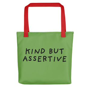 Kind But Assertive | Green | Tote Bag-tote bags-Red-Eggenland