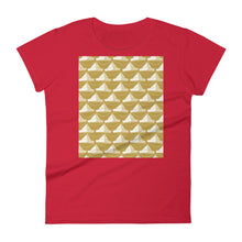 Load image into Gallery viewer, Paper Hats Pattern | Golden | Women's Short-Sleeve T-Shirt-t-shirts-Red-S-Eggenland