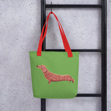 Load image into Gallery viewer, Cute Dachshund Dog | Light Green | Tote Bag-tote bags-Eggenland