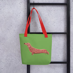 Cute Dachshund Dog | Light Green | Tote Bag-tote bags-Eggenland