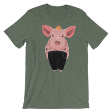 Load image into Gallery viewer, Cool Pig With Tattoos | Short-Sleeve Unisex T-Shirt-t-shirts-Heather Forest-S-Eggenland