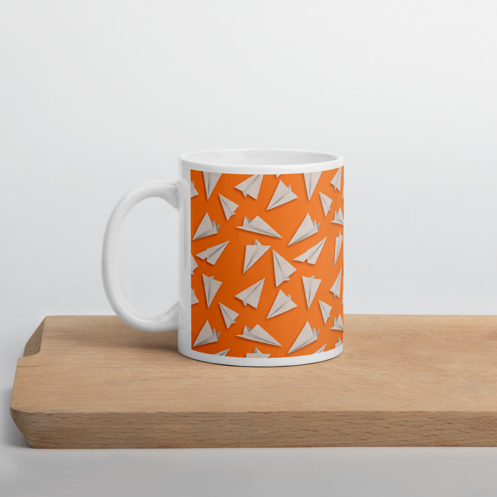 Paper Planes Pattern | Orange | Mug-mugs-11oz-Eggenland