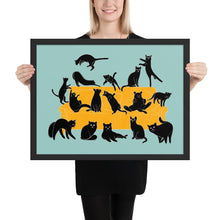 Load image into Gallery viewer, Black Cats Party | Blue | Illustration | Framed Poster-framed posters-Black-18×24-Eggenland