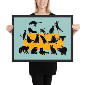 Black Cats Party | Blue | Illustration | Framed Poster-framed posters-Black-18×24-Eggenland