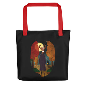 Deer Creature at Night | Black | Tote Bag-tote bags-Red-Eggenland