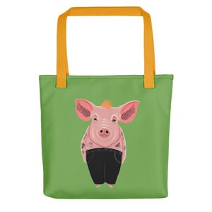 Cool Pig with Tattoos | Green | Tote Bag-tote bags-Yellow-Eggenland