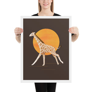 Giraffe and Sun | Illustration | Brown | Framed Posters-framed posters-White-18×24-Eggenland