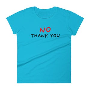 No Thank You | Women's Short-Sleeve T-Shirt-t-shirts-Caribbean Blue-S-Eggenland
