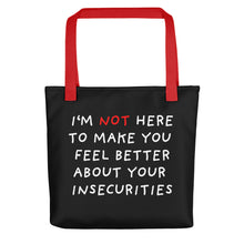 Load image into Gallery viewer, Insecurities | Black | Tote Bag-tote bags-Red-Eggenland