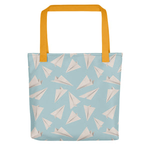 Paper Planes Pattern | Blue | Tote Bag-tote bags-Yellow-Eggenland