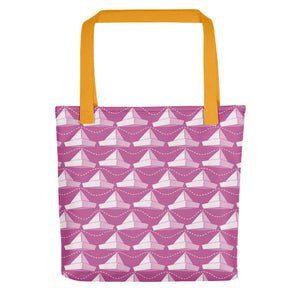 Newspaper Hats Pattern | Pink | Tote Bag-tote bags-Yellow-Eggenland