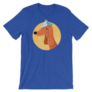 Dog With Newspaper Hat | Short-Sleeve Unisex T-Shirt-t-shirts-Heather True Royal-S-Eggenland