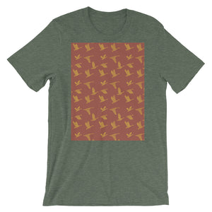 Flying Birds Pattern | Red | Short-Sleeve Unisex T-Shirt-t-shirts-Heather Forest-S-Eggenland