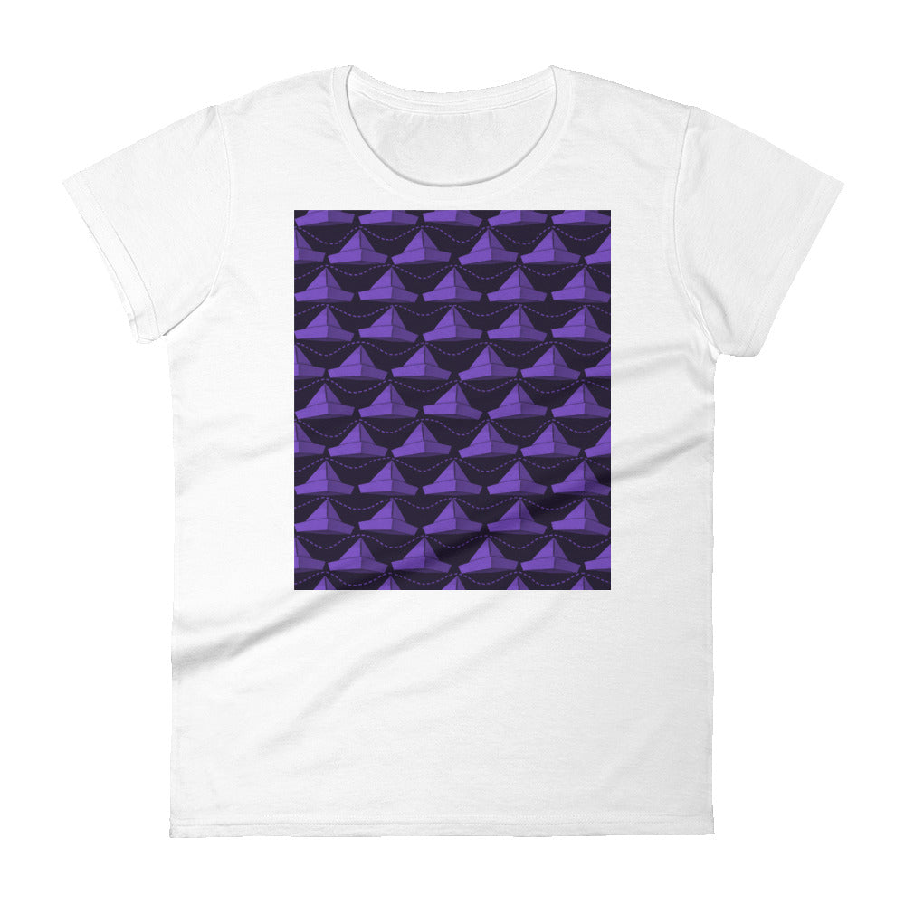 Paper Hats Pattern | Dark Violet | Women's Short-Sleeve T-Shirt-t-shirts-White-S-Eggenland