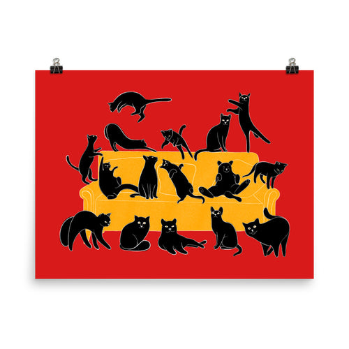 Black Cats Party | Red | Illustration | Poster-posters-Eggenland
