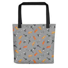 Load image into Gallery viewer, Funky Cats Pattern | Dark Grey | Tote Bag-tote bags-Black-Eggenland
