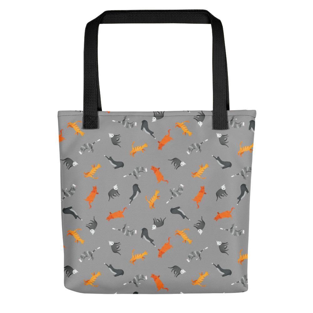 Funky Cats Pattern | Dark Grey | Tote Bag-tote bags-Black-Eggenland