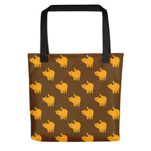 Load image into Gallery viewer, Yellow Cat Pattern | Brown | Tote Bag-tote bags-Black-Eggenland