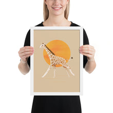 Load image into Gallery viewer, Giraffe and Sun | Illustration | Cream | Framed Posters-framed posters-White-12×16-Eggenland
