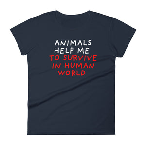 Animals Help Me | Women's Short-Sleeve T-Shirt-t-shirts-Navy-S-Eggenland