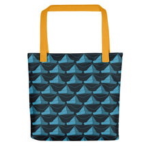 Load image into Gallery viewer, Newspaper Hats Pattern | Dark Blue | Tote Bag-tote bags-Yellow-Eggenland