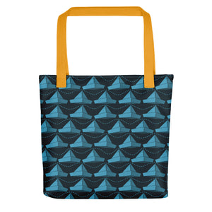 Newspaper Hats Pattern | Dark Blue | Tote Bag-tote bags-Yellow-Eggenland