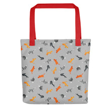 Load image into Gallery viewer, Funky Cats Pattern | Grey | Tote Bag-tote bags-Red-Eggenland