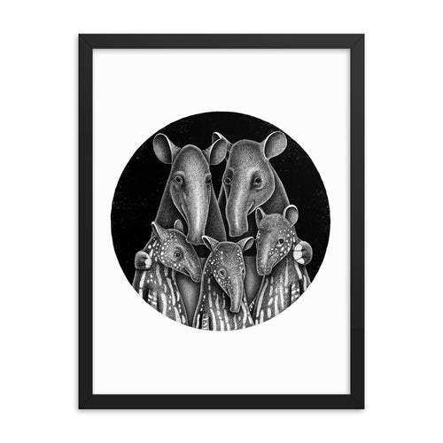 Tapir Family | Illustration | Framed Poster-framed posters-Eggenland
