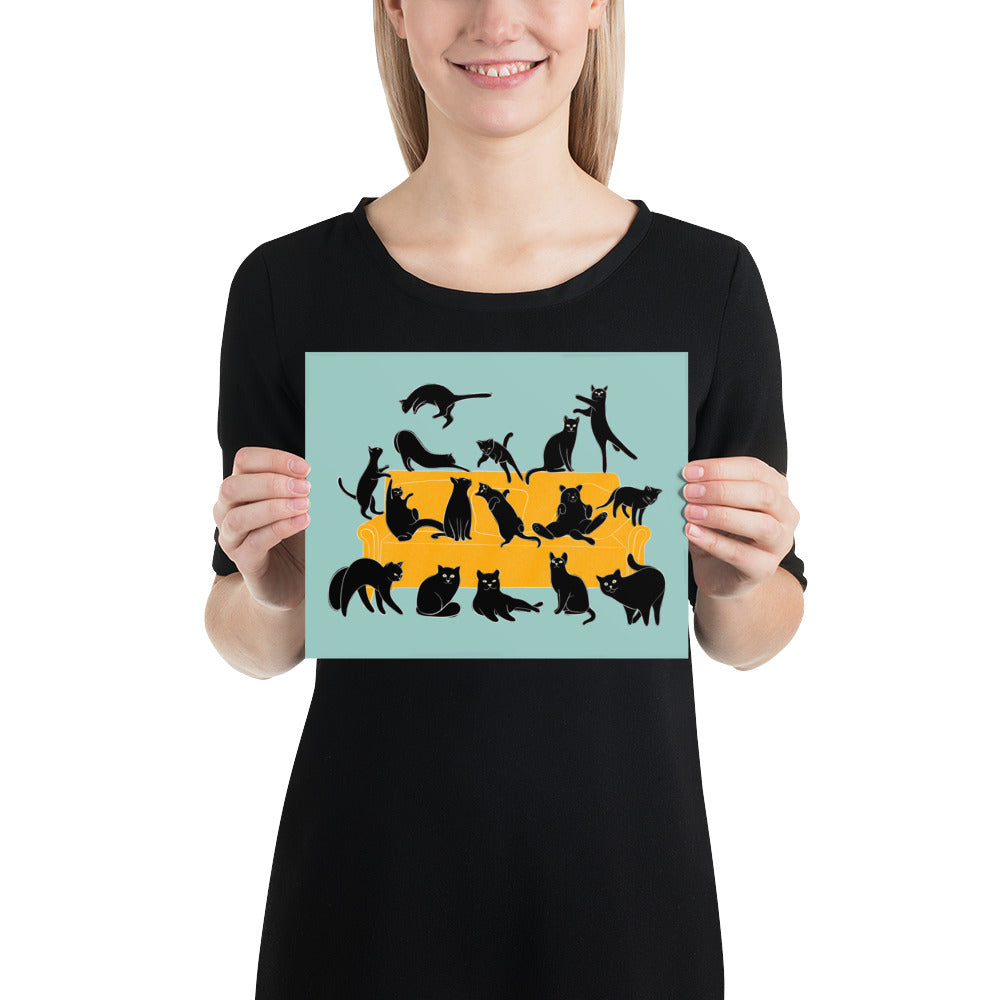 Black Cats Party | Blue | Illustration | Poster-posters-8×10-Eggenland