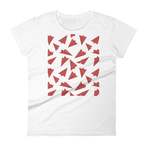Paper Planes Pattern | Red | Women's Short-Sleeve T-Shirt-t-shirts-White-S-Eggenland