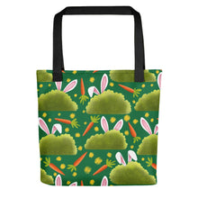 Load image into Gallery viewer, Rabbits and Carrots | Green | Tote Bag-tote bags-Black-Eggenland