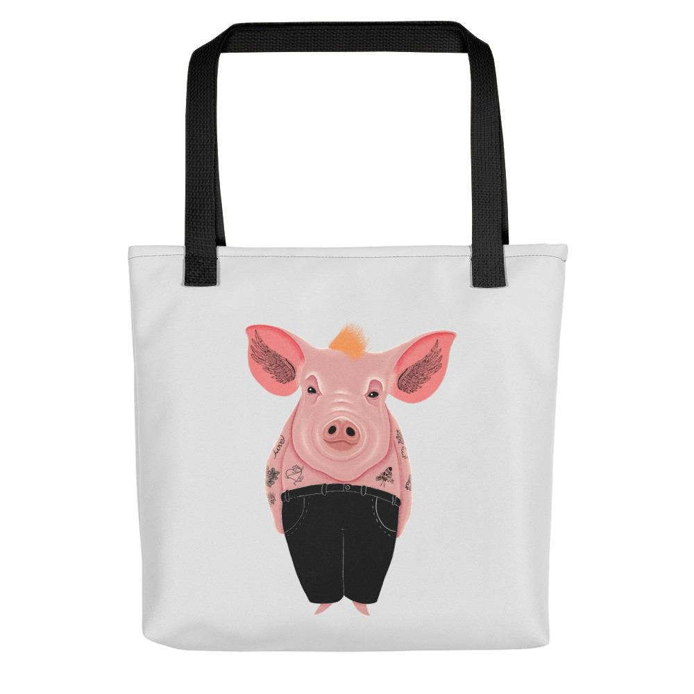 Cool Pig with Tattoos | Light Grey | Tote Bag-tote bags-Black-Eggenland