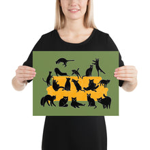 Load image into Gallery viewer, Black Cats Party | Green | Illustration | Poster-posters-12×16-Eggenland