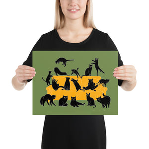 Black Cats Party | Green | Illustration | Poster-posters-12×16-Eggenland
