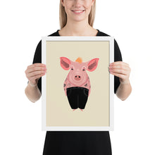 Load image into Gallery viewer, Cool Pig With Tattoos | Illustration | Cream | Framed Posters-framed posters-White-12×16-Eggenland