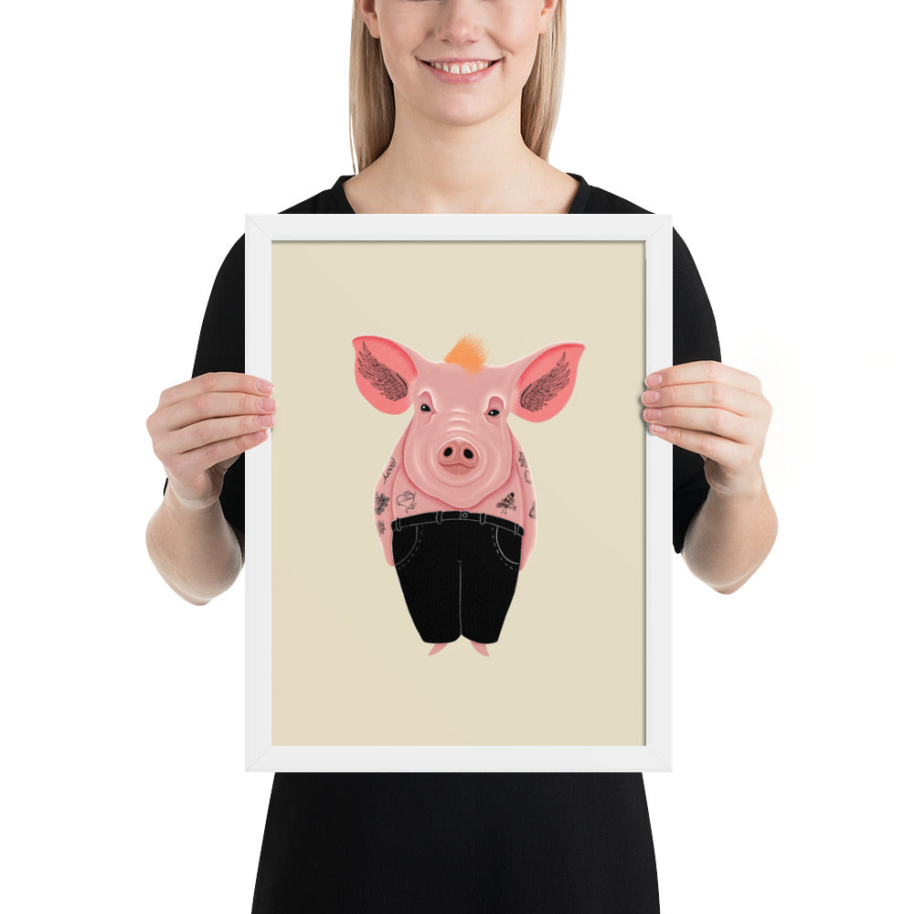 Cool Pig With Tattoos | Illustration | Cream | Framed Posters-framed posters-White-12×16-Eggenland