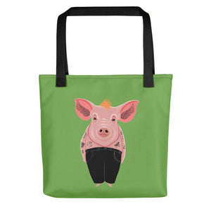 Cool Pig with Tattoos | Green | Tote Bag-tote bags-Black-Eggenland