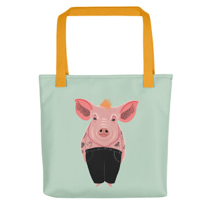 Cool Pig with Tattoos | Light Green | Tote Bag-tote bags-Yellow-Eggenland