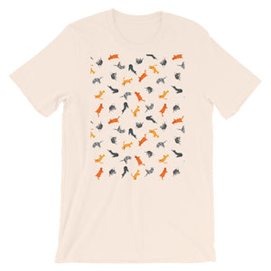 Funky Cats Pattern | Short-Sleeve Unisex T-Shirt-t-shirts-Soft Cream-S-Eggenland
