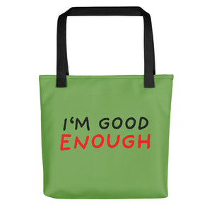 Good Enough | Green | Tote Bag-tote bags-Black-Eggenland